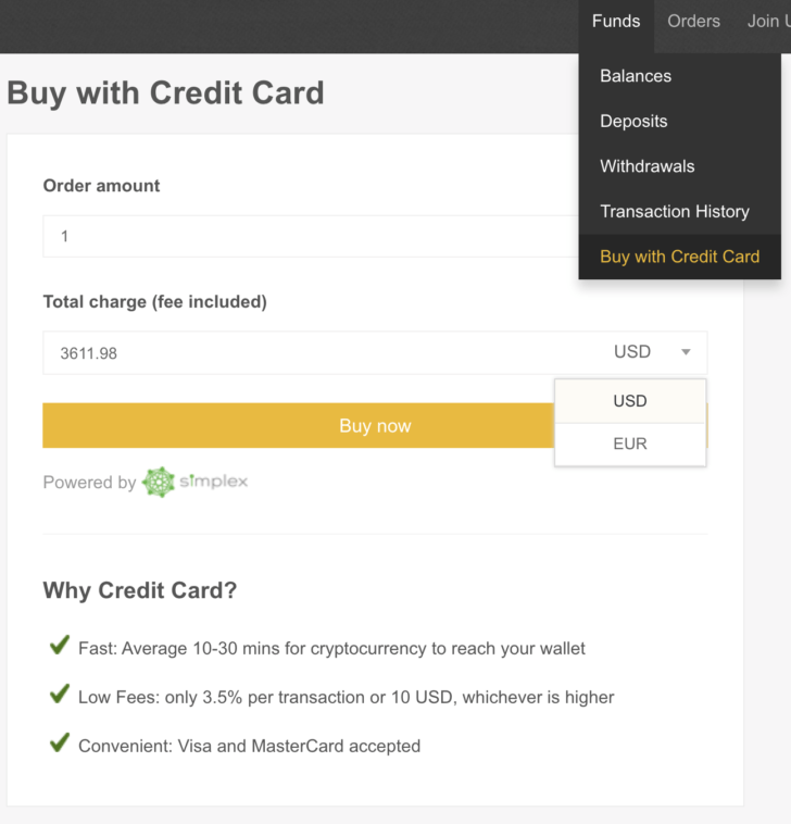Binance payment with Credit Card