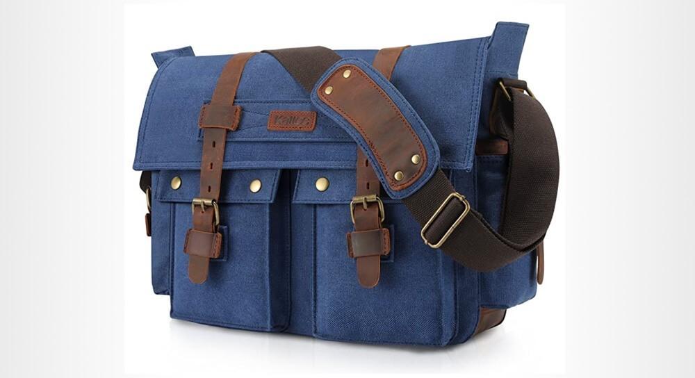 Kattee Canvas Cow Leather DSLR Camera Shoulder Bag