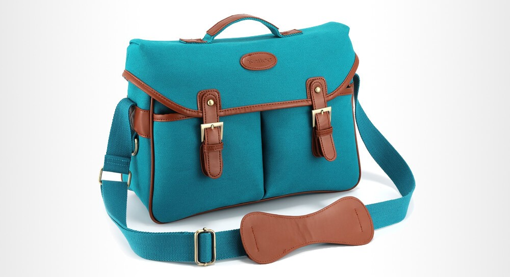 Kattee - Leather Canvas DSLR Mirrorless Camera Shoulder Bag